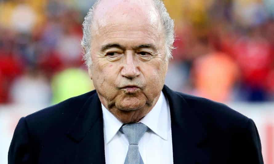 Fifa president Sepp Blatter before the Asian Cup final soccer match between South Korea and Australia in January 2015.