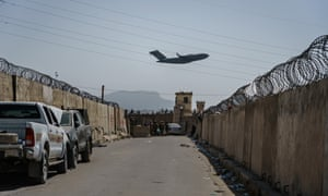 A C-17 Globemaster takes off from Hamid Karzai International Airport in Kabul