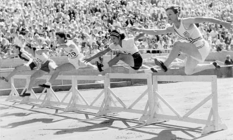 Mildred 'Babe' Didrikson, right, clears the first hurdle on her way to breaking the Olympic 80m record at the 1932 Games in Los Angeles