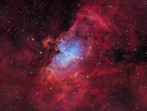 The Eagle nebulaMarcel Drechsler (Germany). The Eagle Nebula, also known as Messier 16, is a young open cluster of stars, surrounded by hot hydrogen gas in the constellation Serpens and lies at a distance of 7,000 light years from Earth. Taken at the Baerenstein Observatory in Germany, the photo is a RGB-Ha-OIII image and shows off the radiant red and blue colours of the nebula. In the centre you can spot the famous Pillars of Creation.