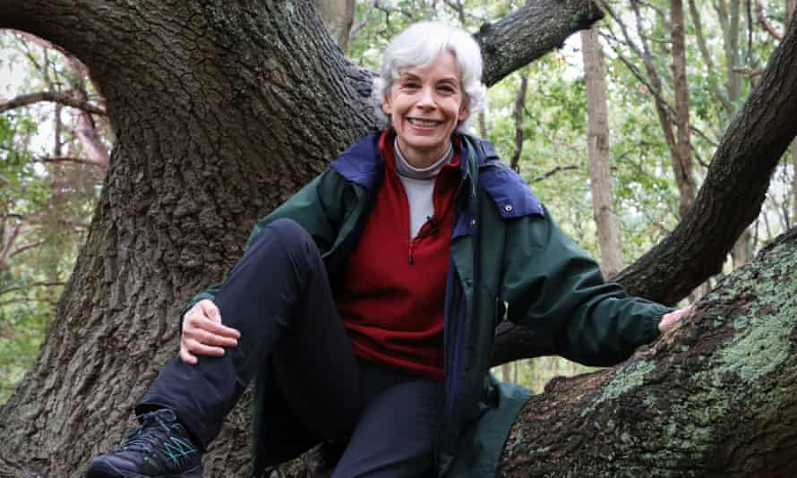 Author Michelle Paver, tree climbing in Wimbledon Common woods