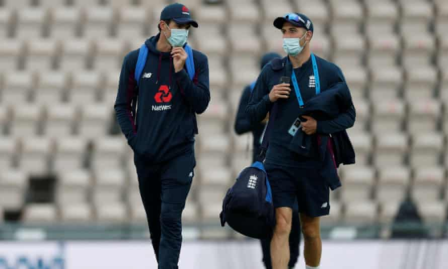 England's James Anderson and Mark Wood