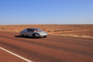 The Sun Shuttle car, Sun Shuttle-III, from China competes in the cruiser class on day five at Coober Pedy
