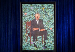 Barack Obama's official portrait, painted by Kehinde Wiley.