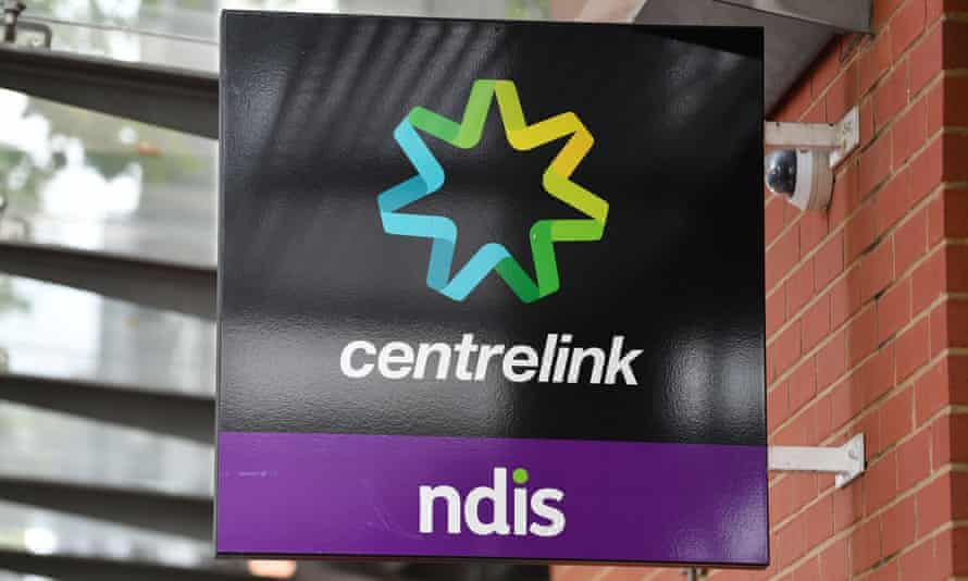 A close up of a Centrelink sign