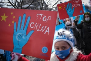 Uighurs protest in Istanbul, Turkey, during a visit by China's foreign minister to Ankara