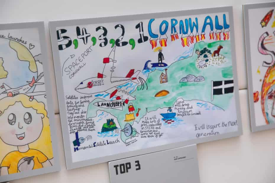 A drawing by Rowan McIntosh of St Columb Minor School showing the benefits to Cornwall from satellite technology.