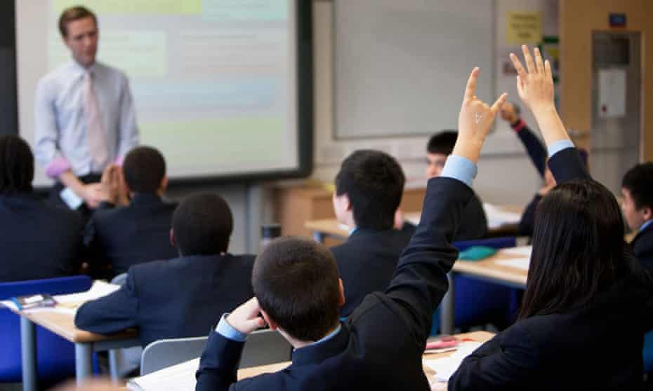 Children in a secondary school classroom