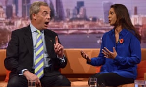 Gina Miller debating with Nigel Farage on BBC television last year.