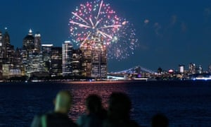 Fireworks are seen in the New York City Harbor, as New York State celebrates reaching a 70% vaccination threshold.