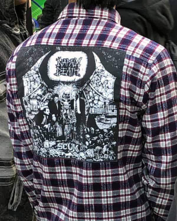 Patched up … a Napalm Death fan at the festival.