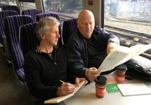 Blake Morrison, left, and Gavin Bryars on the journey.