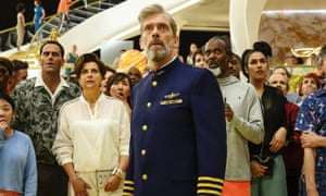 Will they make it back to Earth? Hugh Laurie (centre) in Avenue 5.