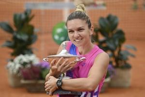 Simona Halep took the women's singles title in Rome after Karolina Pliskova had to retire with an injury.