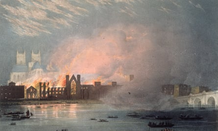 An artist's rendering of the Palace of Westminster on fire in 1834.