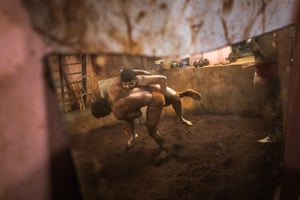 Amol Patil wrestling with another member of the Shree Laxmi Akhada, Mumbai
