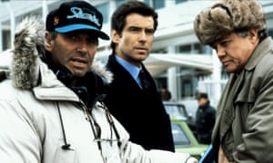 Director Martin Campbell (left) with Brosnan and Joe Don Baker on the set of GoldenEye in 1995.