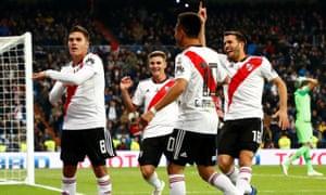 River Plate's Juan Quintero celebrates scoring their second goal.