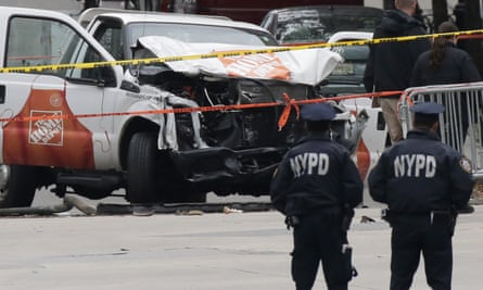 Workers continue to collect evidence around truck used to strike pedestrians in Manhattan