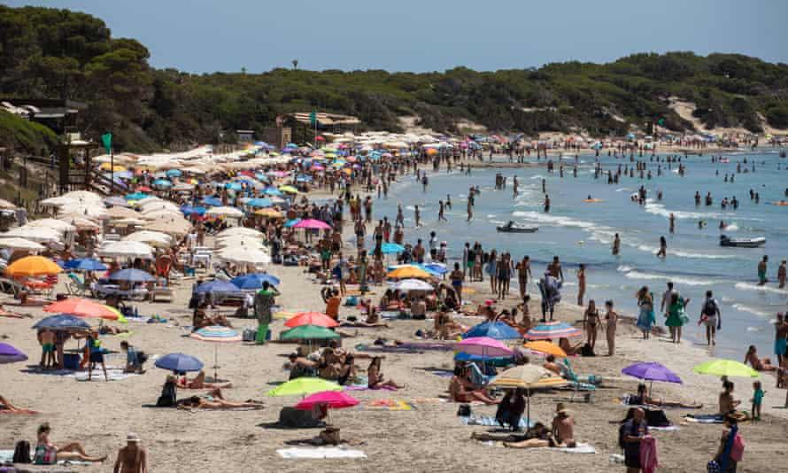 Beachgoers in Ibiza