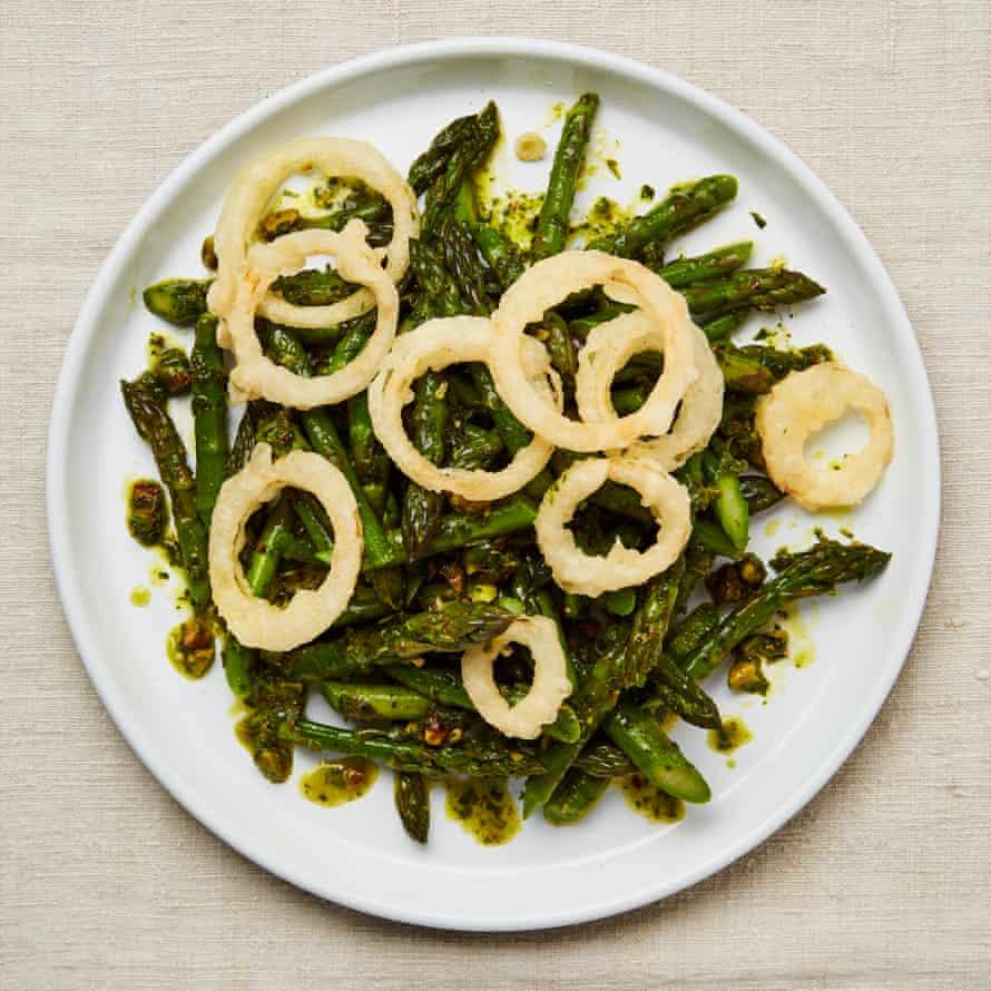 Yotam Ottolenghi's asparagus with garlic pesto and tempura onions