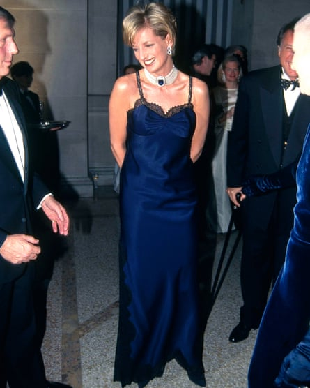Princess Diana in a Dior slip dress for the Met gala in New York in 1986.