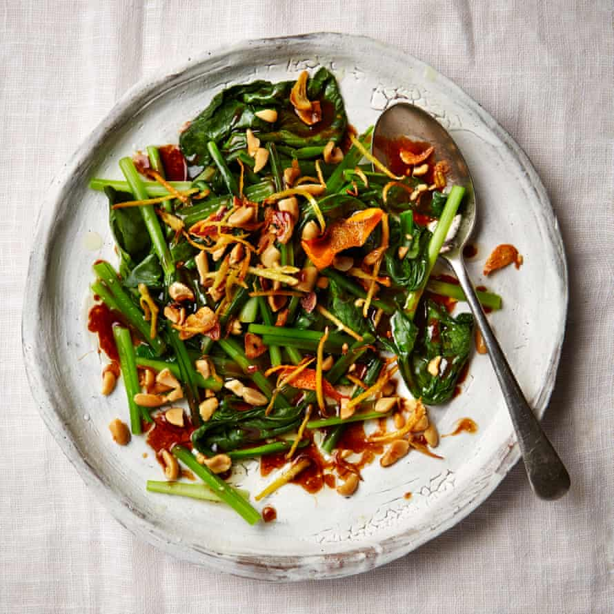 Choy sum with oyster sauce, garlic and peanuts.