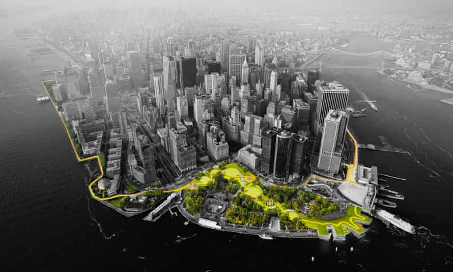 This illustration provided by Rebuild by Design shows a flood-mitigation design for the Manhattan borough of New York called the big U.