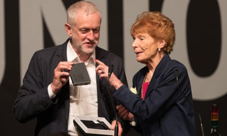 Mary Turner with Labour leader Jeremy Corbyn at the GMB congress in Bournemouth in June 2016.