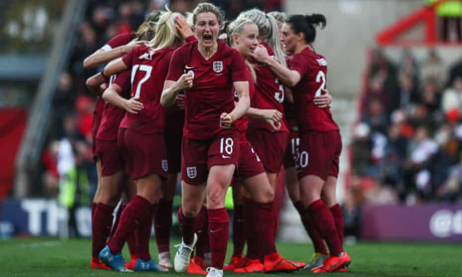 England Lionesses celebrating the first goal during an international friendly between England and Spain in April 2019.