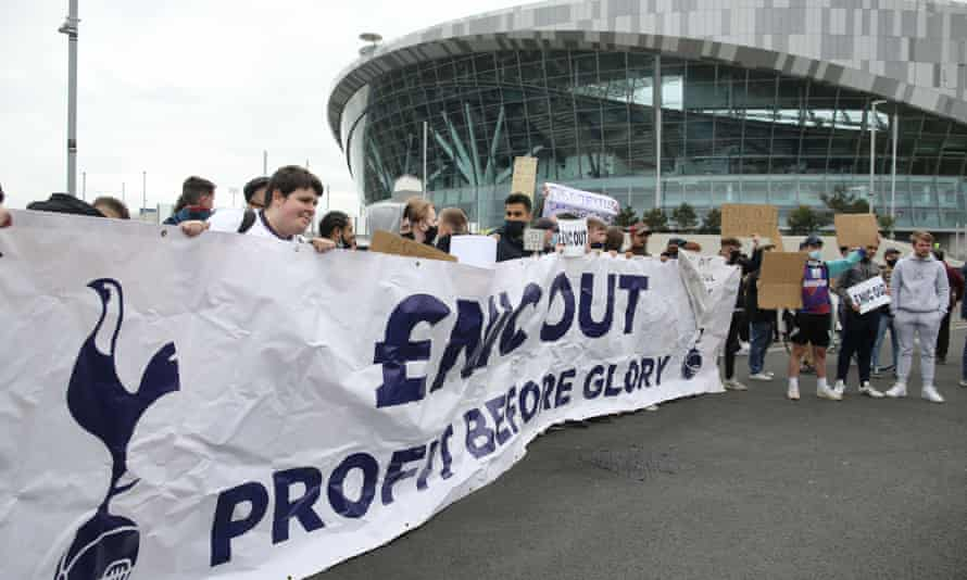 Spurs supporters protest against the club owners ENIC in the wake of the failed European Super League breakaway plan.