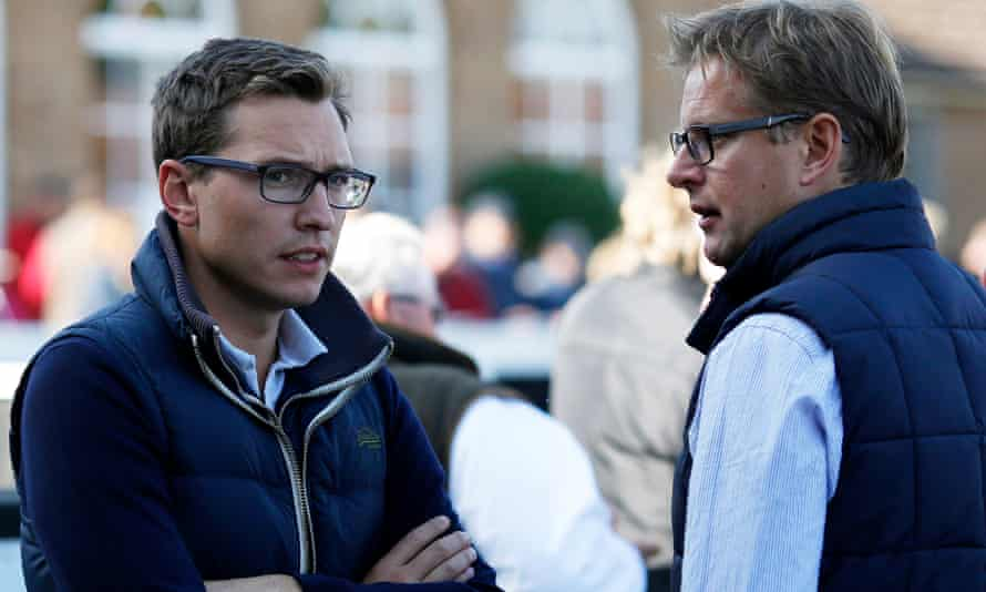 ITV racing presenter Ed Chamberlin, right, with Racing UK broadcaster Ollie Bell at the sales in Newmarket this week.