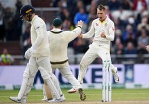 Marnus Labuschagne of Australia celebrates taking the wicket of Jack Leach of England.