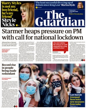Guardian front page, Wednesday 14 October 2020