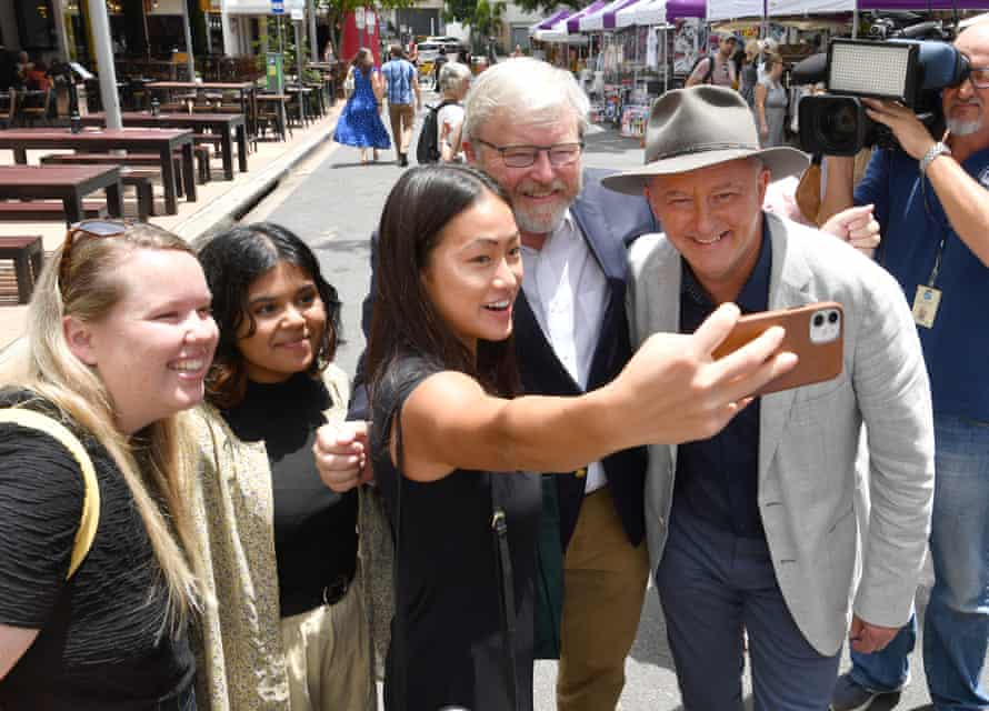 Former prime minister Kevin Rudd, centre, and Labor leader Anthony Albanese in Brisbane during Albanese's February tour of Queensland electorates.