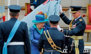 The Queen presents a new Queen's colour to the RAF at Buckingham Palace