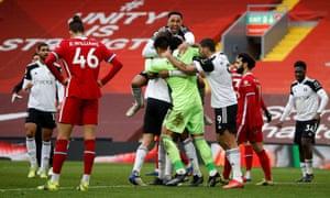 Fulham players celebrate..