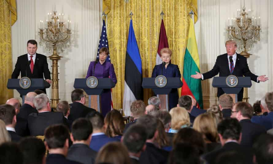 Donald Trump at a joint news conference with, from left, President Raimonds Vējoni of Latvia, President Kersti Kaljulaid of Estonia and President Dalia Grybauskaitė of Lithuania, in the White House on Tuesday.