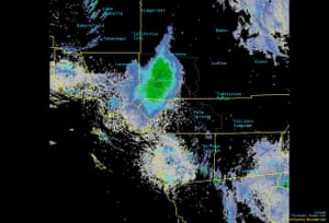 The green smudge on this radar image captured by the US National Weather Service is a swarm of many millions of ladybirds