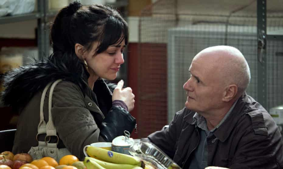 Hayley Squires and Dave Johns in a scene in a foodbank from Ken Loach's I, Daniel Blake (2016).