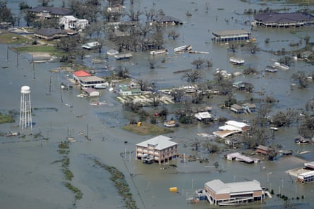 Buildings and homes are flooded in the aftermath of Hurricane Laura near Lake Charles, Louisiana.