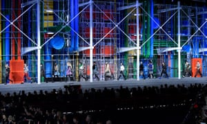 The Louis Vuitton catwalk was inspired by the Pompidou Centre in Paris.