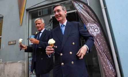 Drax with Jacob Rees-Mogg in Weymouth in August.