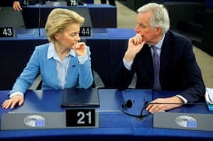 Strasbourg, France European Commission president Ursula von der Leyen and Michel Barnier, the European Commission's head of task force for relations with the United Kingdom, confer at the European parliament ahead of a debate on the future partnership with the UK