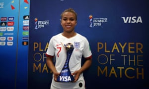 Nikita Parris with her player of the match award after England's 2-1 win over Scotland in Nice.