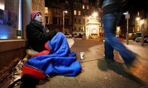 Miranda Tizard sits after midnight trying to beg up to the sum of £18 which will buy her a bed in a B&B in Leith.