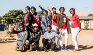 """Young women of the """"Famous Divas"""" Rise Club in Temba."""