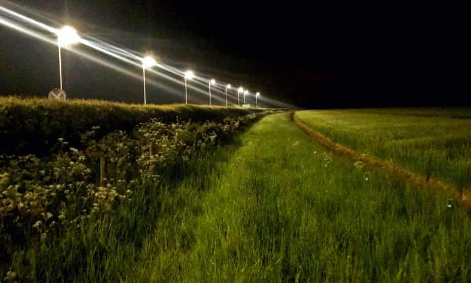 LED streetlights along a rural road in Oxfordshire.
