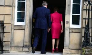 Nicola Sturgeon and David Cameron make their way into Bute House