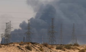 Smoke is seen following a fire at an Aramco factory in Abqaiq, Saudi Arabia.